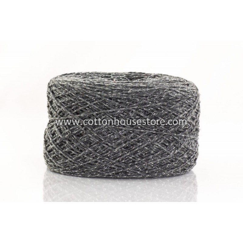 Fine Cotton 164 Dark Grey Wool w/ Metallic (80gm)