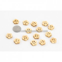 Wood Smiley 14x14mm 15pcs BUT-049
