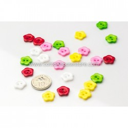 Mixed Flower 2 Holes Resin 10mm (25pcs) BUT-018