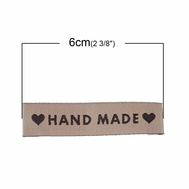 """Labels Light Coffee """"Hand Made"""" with heart 60mm x 15mm"""