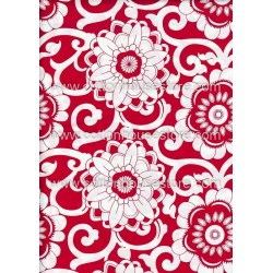 Cotton Fabric 20068 Flowers Red 4m