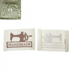 "Labels ""HANDMADE"" with sewing machine 49mm x 25mm (10pcs)"