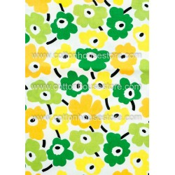 Cotton Fabric 30007-X Flower Greens Yellow 62mmx61mm 1m