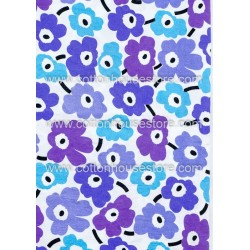Cotton Fabric 30011-X Flower Blues 62mmx61mm 1m