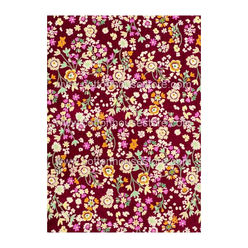 Cotton Fabric 30039-R Flower Maroon BG 1m