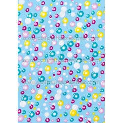Cotton Fabric 30052-R Bubbles 17mmx17mm  Blue BG  1m