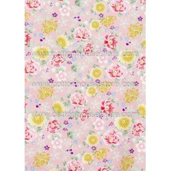 Cotton Fabric 30025-R Flower Pale Pink BG 1m