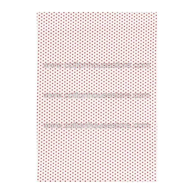 Cotton Fabric 30054-R Dots 1mm Red, White BG 1m