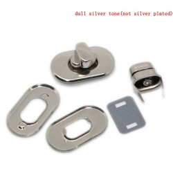 Bag Twist Turn Lock Silver Tone Design 2 (1 set)