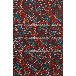 Cotton Fabric 30087-R Swirl Dark Brown BG 1m