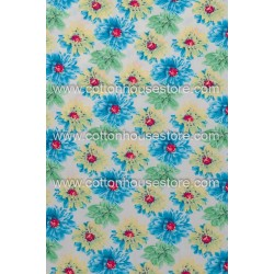 Cotton Fabric 30072-H Flowers Blue Green 1m