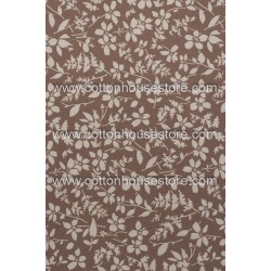 Cotton Fabric 30076-R Flower Light Brown BG 1m