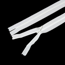 White Invisible Zipper 40cm x 2.5cm