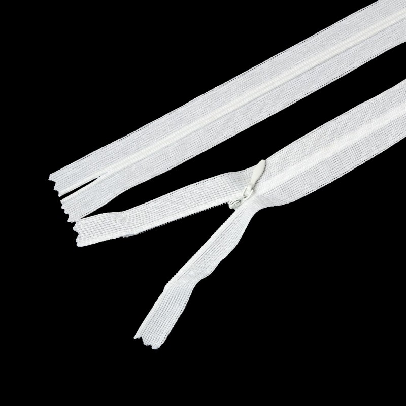 White Invisible Zipper 60cm x 2.5cm