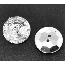 Clear & Silver Faceted 18mm 5pcs
