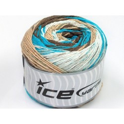 ICE Cakes Cotton White Turquoise Brown Shades