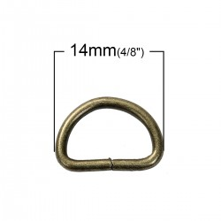 Brass Tone D Ring 14mm x 10mm (10pcs)