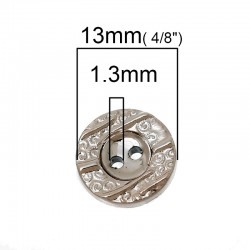Resin Round Rose Gold 13mm 2 Holes 20pcs BUT-108