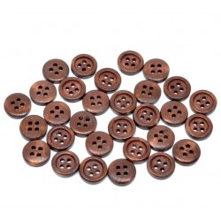 Dark Brown Wood Buttons 15pcs 15mmx15mm BUT-116